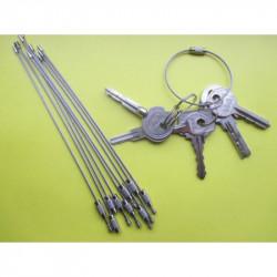 Трос-кольцо для ключей. Материал: нержавеющая сталь,Длина троса: 150 мм Диаметр троса: 1,5 мм Диаметр в собранном виде: 50 мм